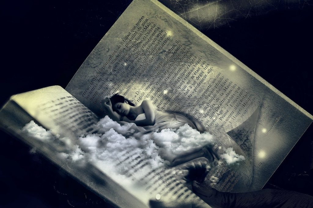 woman, bed, dream
